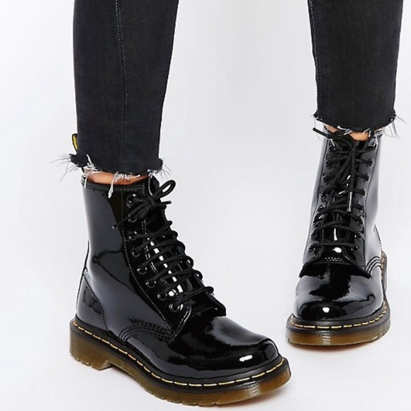 339820cd3b8 Dr. Martens Black Patent Leather Boots Size 6